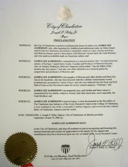 The Mayor of Charleston, the honerable Joe Riley made Sept 18-19 James Jamerson day CLICK ON THE IMAGE FOR THE TEXT